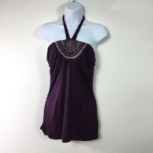 GUESS BEADED HALTER TOP